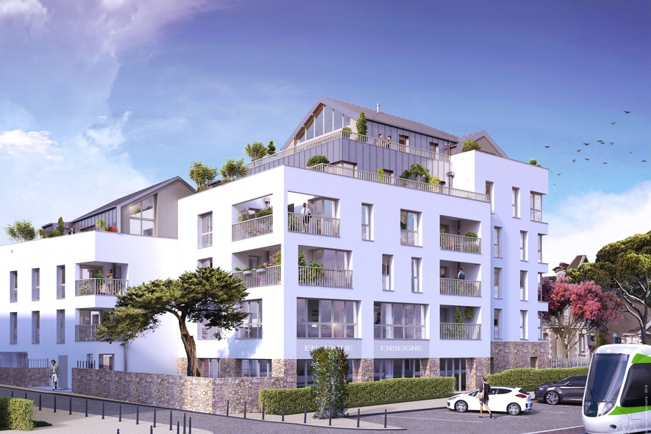 Vue rue Programme Neuf Qualytim Préférence BSR Immobilier Nantes